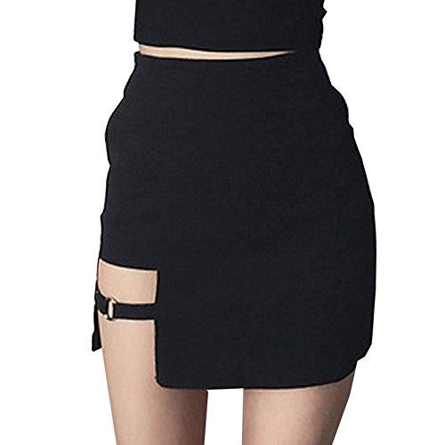 Damen Asymmetrisch Röcke - Mode Hoch Taillierte Slim Fit A-Linie Minirock Sommer Frühling Casual Bleistiftröcke Gut für Party Verein Schwarz S M