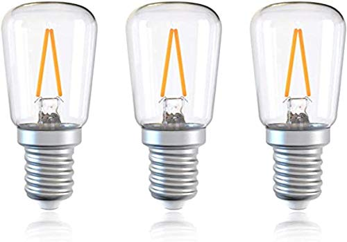YPLDM E14 LED Bombilla, Bombillas de Ahorro de energía de 1.5W para lámpara de Sal, Nevera, Campana de Cocina, Tornillo pequeño en bulbos, Paquete de 3,Clear