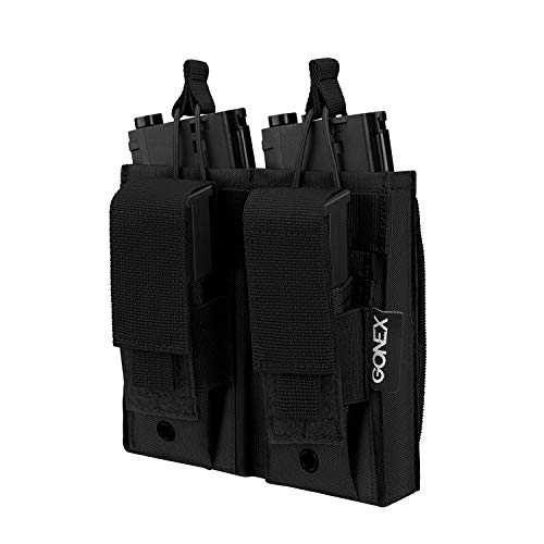 Gonex Molle Mag Pouch, Double/Triple Pistol Pouch Open Top Mag Pouch for M4 Elastic Kangaroo Rifle Magazines, Black