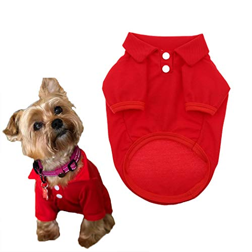 Petea Dog Shirts Pet Puppy Cotton Polo Shirt Basic T-Shirt Clothes for Dogs and Cats (S, Red)