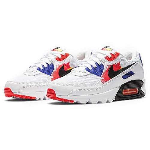 Nike Womens Air Max 90 Running Shoes, White/Black-Laser Orange, 9.5 US