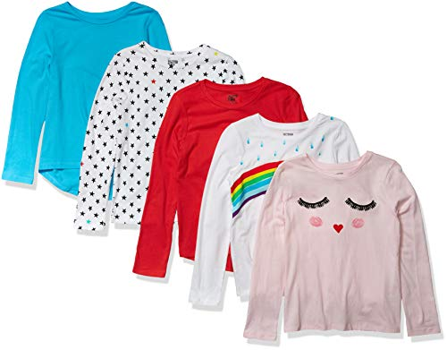 Spotted Zebra 5-Pack Long-Sleeve T-Shirts T-Shirt, Rainbow Smiles, Small (6-7)