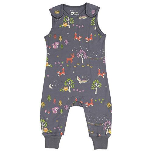Piccalilly Salopette en jersey pour bébé et tout-petit, coton bio, motif animaux de la forêt gris doux - Gris - 3 mois