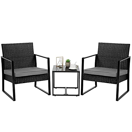 3-Piece Rattan Bistro Set, Rattan Garden Furniture Set Outdoor Patio Garden Table and Chairs For Poolside, Yard, Black
