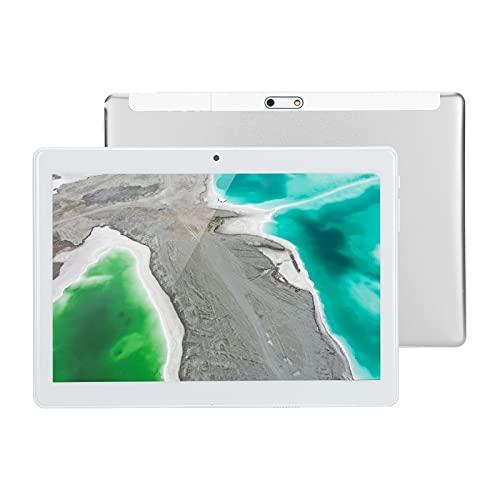 Goshyda Tablet PC, Tableta de Ahorro de energía con Pantalla táctil de Alta definición de 10.1 Pulgadas y 32GB, Compatible con Doble SIM, para Android 9.0, para Trabajo de Estudio, Plateado(EU)