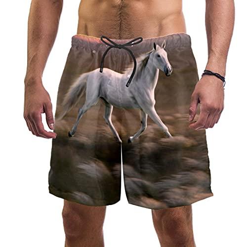 Yuzheng Tronco de Hombre de Secado rápido Atardecer Caballo Corriendo Pantalones Cortos de Playa con Bolsillos para Hombre Regular Extendido