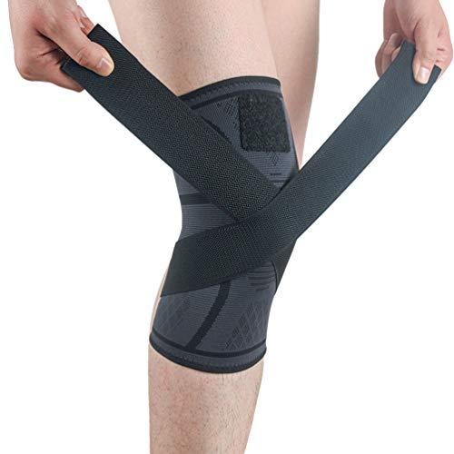 Sentao Kniebandage für Sport mit Einstellbarem Druck-Riemen Knieorthese Knieschoner für Männer Damen, Knieschützer für Sport Gymgears Fitness Volleyball, 1 Stuck