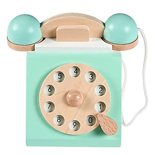 SunniMix Vintage teléfono de dial Antiguo Juego de simulación Montessori Interactivo educación temprana Juguete de Madera Juego de Roles para niños