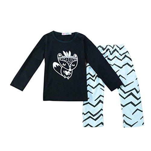 Hirolan 2pcs Kleinkind Baby T-Shirt Top + Hosen Set (80cm, Schwarz)