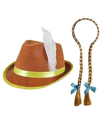 I LOVE FANCY DRESS LTD Un Chapeau Marron Bavarois à Bande doré avec des Tresses Blondes et Petits nœuds Bleues pour Adulte. Ideal pour Oktoberfest.