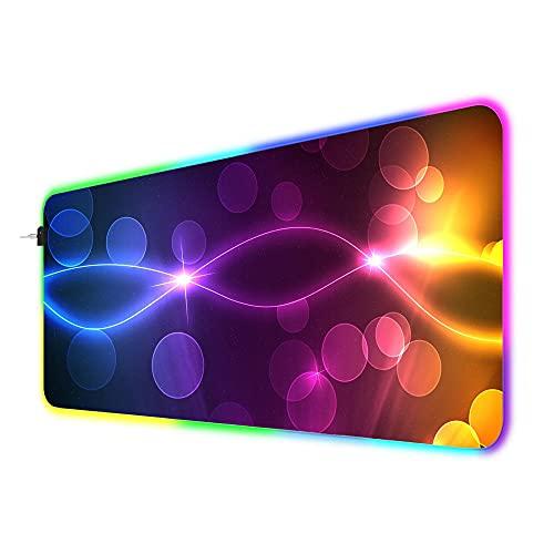 RGBゲーミングマウスパッド抽象的なライトスポット大型ロックエッジゲーマーマウスパッドラップトップデスクパッドLEDキーボード900x400x4mm