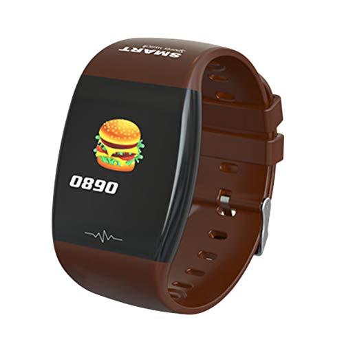 P1 1,3 Zoll Smart Band Herzfrequenz Schlaf Monitor Sport Tracker Uhr Blutdruck Smartwatch Farbbildschirm Armband Wasserdicht (Kaffee)