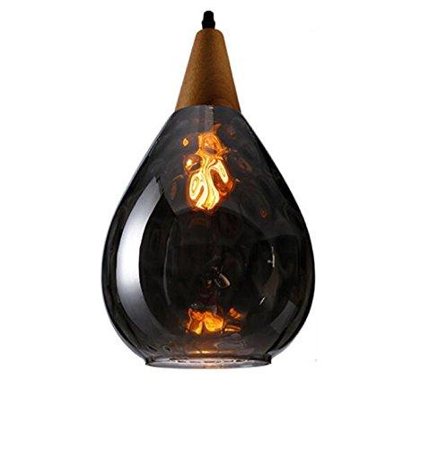 AMZH Country Solid Wood Loft Lustre en Cristal Crystal Creative Restaurant Café Galvanisation en Verre Pendentif Lampe Vintage Bar Ktv Bouteille de Parfum Decore Pendentif E27 110V 220V, Smoky Grey