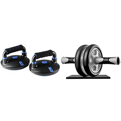 Ultrasport Liegestützgriffe, Push Up Bar, 2er Set Liegestütztgriffe höhenverstellbar, geeignet für Anfänger/Profis, ideal zum Muskelaufbau & Bauchtrainer AB Wheel,Bauchmuskeltrainer für Zuhause