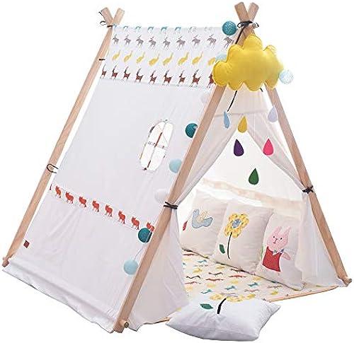 Mogicry Kiefer-Baumwoll-einfaches Dreieck-Kindertipee einfach, Dekoration-Jungen-mädchen-Zelt-Spielhaus für Kinder zu zerlegen, Spielen Zelt