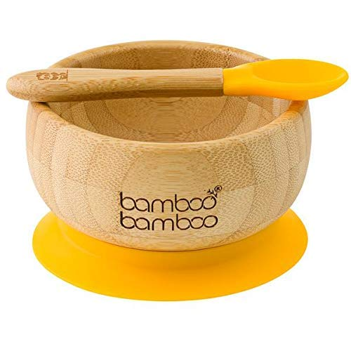 bamboo bamboo  Baby Bowls with Suction and Spoon Set 350ml Yellow - Detachable Suction Base - Natural Bamboo BPA Free Weaning Bowl for Stay Put Feeding