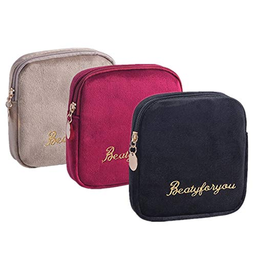 Flocking Fabric Sanitary Napkin Bag,Menstrual Cup Pouch, Nursing Pad Holder, Washable Organizer Storage, 3 Pcs (B)