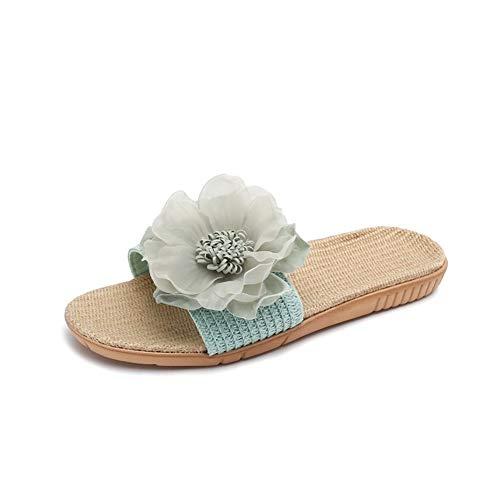 NOLOGO Ladies Home Pelo, algodón y Lino Cuatro Estaciones Zapatillas, Zapatillas de Lino Flores Plataforma Ocasional de Moda Zapatillas Abrir-Punt (Color : Green, Size : 35-36)