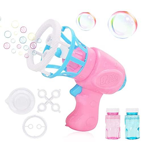 WELLXUNK Máquina de Burbujas para Niños, Pistola Pompas Jabón, Juguete Burbujas Jabon Niños con Solución de Jabón, Portátil Máquina de Burbujas, Juguete de Regalo para Verano al Aire Libre para Niños