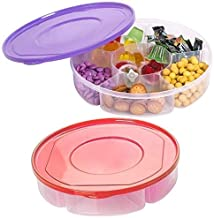 2 Pack - Candy and Nut Serving Tray with Lid, 6 Compartment Organizer, Round Sectional Plastic Food Storage Container, Div...