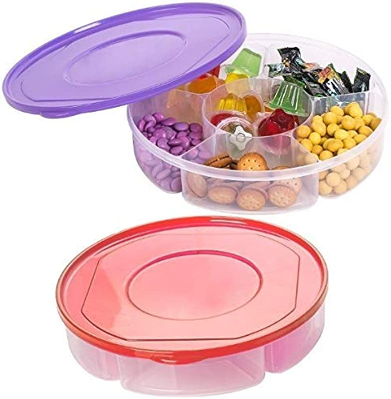 Zilpoo 2 Pack Candy And Nut Serving Container Appetizer Tray With Lid 6 Compartment Round Plastic Food Storage Lunch Organizer Divided Camping Keto Snack Plate Dish Platter W Cover 10 Inch