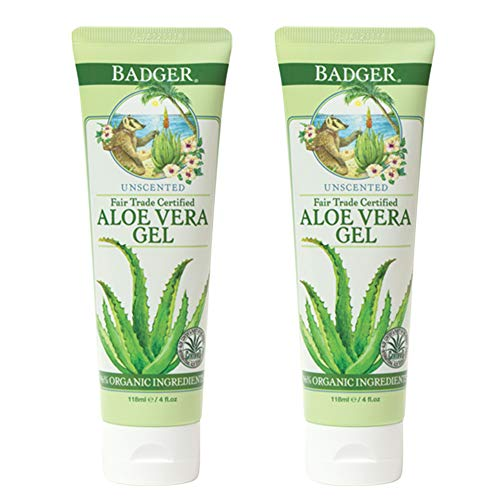Badger - Aloe Vera Gel, Unscented, 96% Pure Aloe Vera Juice, Moisturizing Aloe Gel, Cooling Gel for Sunburn, Certified Organic Aloe Vera Gel, After Sun Aloe, 4 fl oz (2 pack)