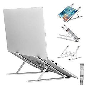 Agedate Soporte Portátil Adjustable, Computadora Elevador para Escritorio, Ergonómico Plegable Soporte para Ordenador Portátil, Ligero Antideslizante Laptop Stand Soporte Mesa para MacBook iPad HP