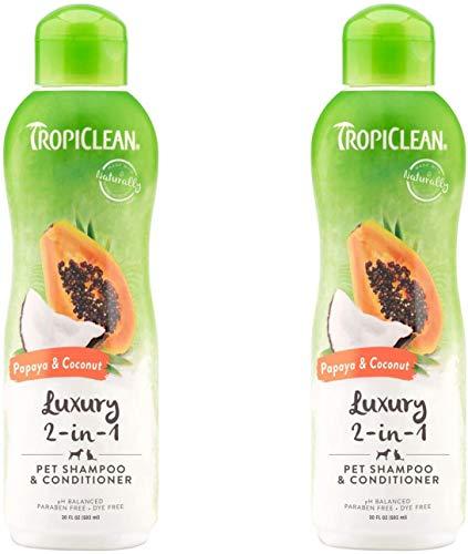 2-PACK Papaya and Coconut Pet Shampoo and Conditioner, Luxury 2-in-1 Shampoo and Conditioner for Dogs and Cats, 20 oz.