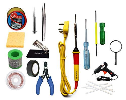 FADMAN BASIC COMPLETE KIT TYPE-15 SOLDERING IRON KIT | M-GLASS | GUN & STICKS | TAPE | WICK | TESTER | SCREW DRIVER | CUTTER | SPONGE | TWEEZER | BIT | STAND | S-WIRE | PASTE | YELLOW SOLDERING IRON |