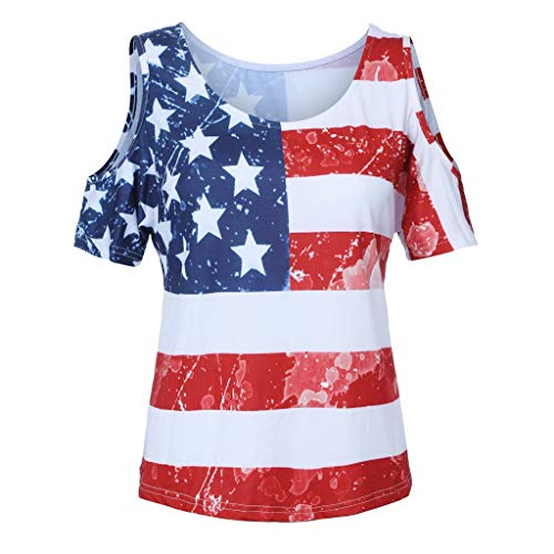 Review Of Respctful✿ July 4 Clothing Fashion Women Patriotic American Flag Print Lace Short Sleeve...