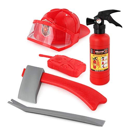 OUTEYE 5pcs Bambini Pompiere Vigile del Fuoco Giocattoli Cosplay Kit Casco estintore citofono Ascia Chiave Set Bambini Ragazza Ragazzo Regalo