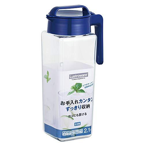 岩崎 冷水筒 ピッチャー 麦茶 ポット 日本製 耐熱 横置き 熱湯可 タテヨコ スクエアピッチャー 2.1L K-1298NB