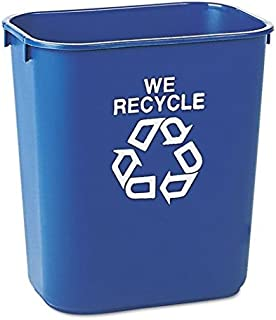 Rubbermaid Commercial Small Deskside Recycling Container, Rectangular, Plastic, 13 5/8 qt, Blue - one recycling container. by Rubbermaid Commercial