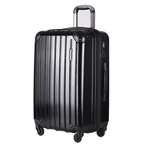 超軽量 TSAロック搭載 スーツケース キャリーバッグ PC/ABS材質 静音 コーナープロテクト キャリーバー 持ちやすいキャリーバー アルミハンドル 多段階調節可能 拡張ファスナー 大容量 ビジネス 出張 旅行【一年 (L, ブラック)
