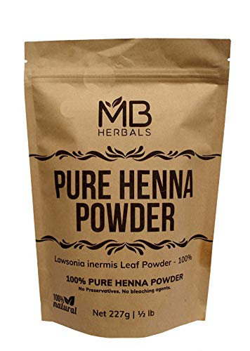 MB Herbals 100% Natural & Pure Henna Powder 227 Gram | 8 oz   0.5 lb | For Natural Orange-Red Hair Color | Triple Sifted | Raw | Non-Radiated |100% Pure Rajasthan Henna from Marwar region