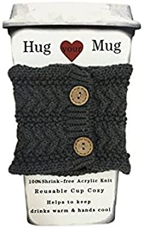 Hug Your Mug Cup Cozy, Reusable Coffee Sleeve Hand Protector Drink Grip for Paper Cups