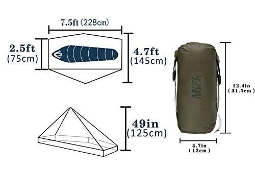 MIER Ultralight Tent 3-Season Backpacking Tent for 1-Person or 2-Person Camping, Trekking, Kayaking, Climbing, Hiking (Alpenstock is NOT Included), Khaki, 1-Person