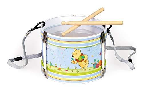 Bolz 52634 - Blechrommel Disney's Winnie the Pooh, Ø 17 cm, Kindertrommel aus Blech mit 2 Schlägel und Tragegurt, Musikinstrument für Kinder ab 3 Jahre, Schlaginstrument, Trommel mit Disney Motiv