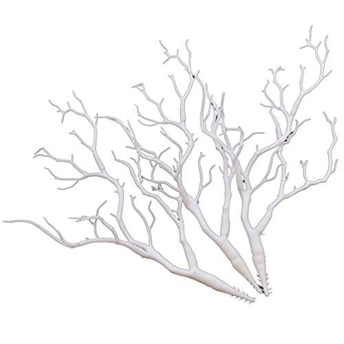 YNuth 3 Stück Zweige Äste aus Kunststoff Weiß Kunstpflanzen Blumenvase Dekoration MEHRWEG