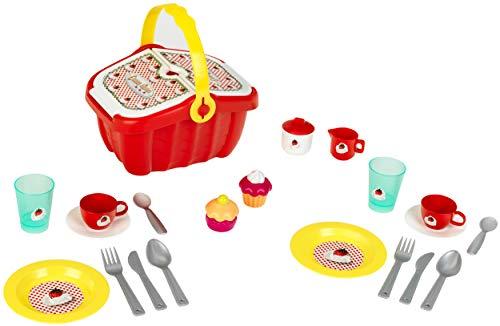 Theo Klein 9228 9228-Picknickkorb mit viel Zubehör, Spielzeug, Rot