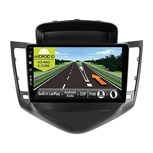 JOYX Android 10 Autoradio Compatibile Chevrolet Cruze (2009-2014)- [4G+64G] - Built-in DSP/Carplay/Android Auto - Camera MIC GRATUITI - Supporto BT5.0 DAB Volante 4G WiFi 360-Camera - 9 Pollici 2 Din