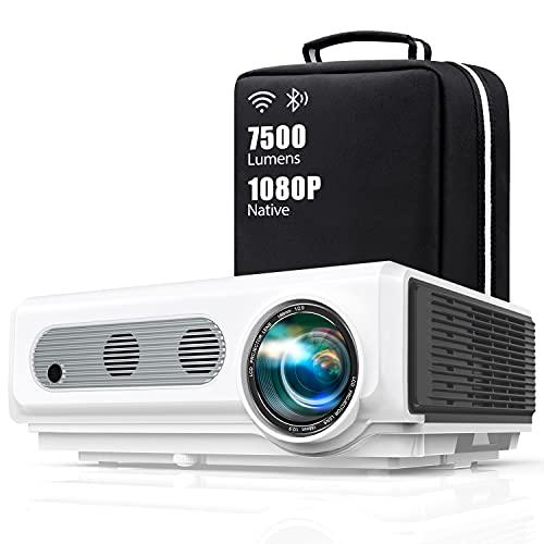 Proyector WiFi Bluetooth Full HD 1080P, TOPTRO 7500 Lúmenes Proyector 1080P Soporta 4K y Función de Zoom, Pantalla 300' Contraste 10000:1 Proyector LED Cine en Casa para iPhone,Android,PC,