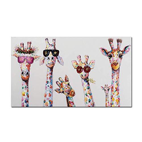 BICHENGGONGFBH Graffiti Arte Animali Pittura su Tela Giraffe Famiglia Stampe Immagine Decorativa per la Decorazione della Camera dei Bambini 60x120 cm Senza Cornice Bianca