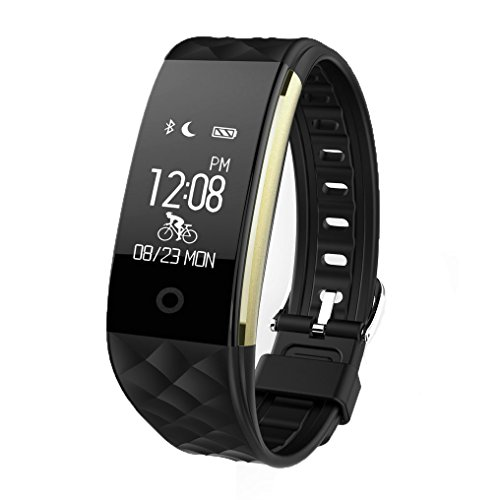 JIAMEIYI Fitness Tracker, S2 Smart Bracelet with Intelligent Heart Rate Blood Pressure Monitor Health Sleep Activity Tracker Active Sports Monitoring for Android and IOS (black)