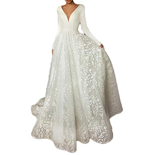 HYC Lace Wedding Dress Long Sleeve V-Neck Boho Bridal Gown Satin Backless Plus Size Custom White