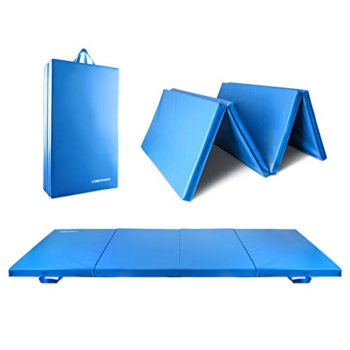 RitFit Upgraded Folding Exercise Mat, 2 Inch Thick Gymnastics Mat with Carrying Handles for Yoga, MMA, Stretching, Core Workouts and Home Gym Protective Flooring (Sky Blue(4' x 8'))