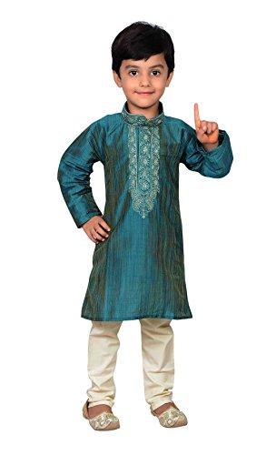 Desi Sarees Indien Pakistan Jungen Sherwani Kurta Churidar Kameez für Bollywood-Thema Party Hochzeit 858 - Türkis, 4 (4 Yrs)