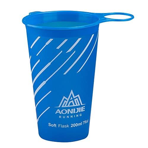AONIJIE 200 ml / 170 ml Faltbare Weiche Wasser Tasse BPA Frei Trinkbecher für Outdoor Sport Marathon Radfahren Camping Laufen (200ML-Blau)