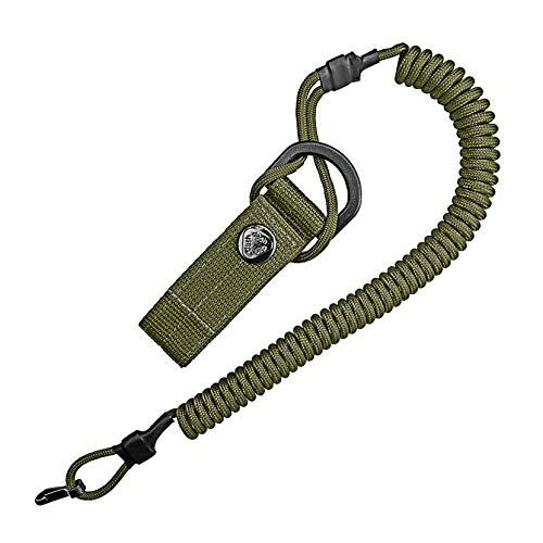 Spiral-Kabel, elastischer Schlüssel-Anhänger aus Paracord, Lanyard, Schlüssel-Band, Stretch Fang-Riemen, RSG-Halterung mit Karabiner (ArmyGreen)