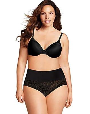 Maidenform Plus Size Tame Your Tummy Brief, 2X, Black Lace